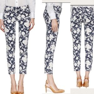 tory burch alexa cropped floral skinny jeans 33